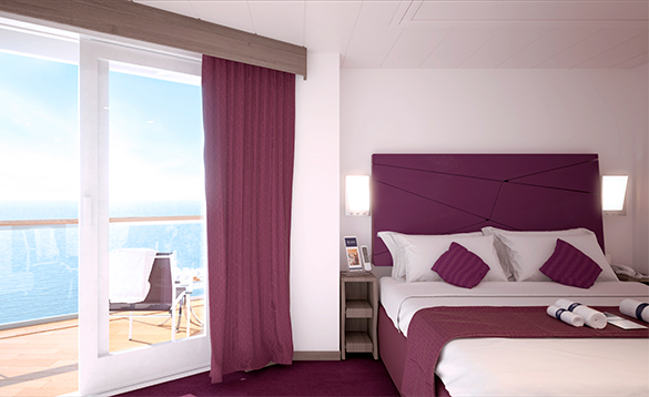 Seaside Suite cabin with balcony onboard MSC cruise ship/
