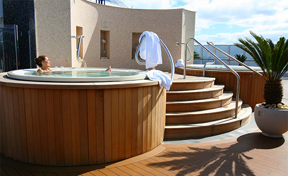 Relaxing in a jacuzzi in the Spa onboard an Oceania cruise ship/