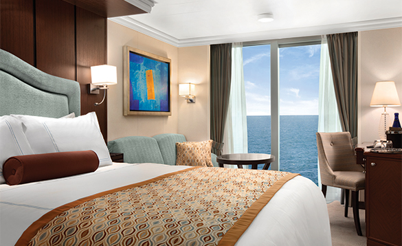 Oceanview stateroom onboard an Oceania cruise ship/