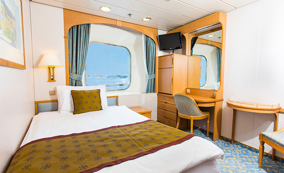 Single outside cabin on the P&O Cruises ship Aurora/