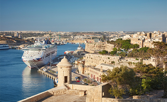 P&O Oceana cruise ship moored in Valletta, Malta/