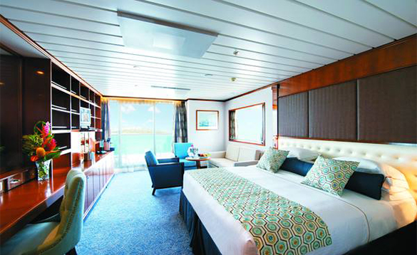 Grand suite cabin on a Paul Gauguin cruise ship/