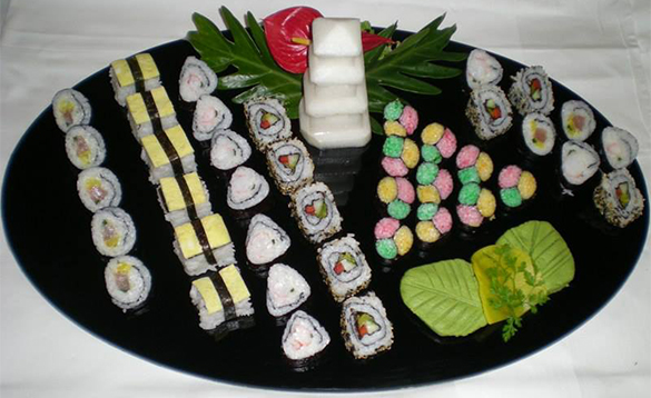 Platter of sushi served on a Paul Gauguin Cruise ship/