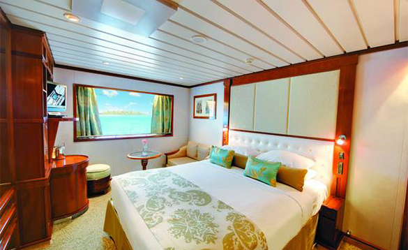 Window stateroom on a Paul Gauguin cruise ship/