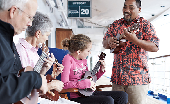 Passengers taking a music class onboard a Princess cruises ship/