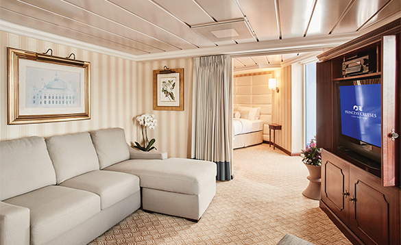 Suite cabin on a Princess Cruises ship/