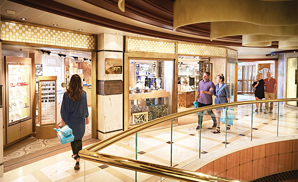 Passengers chekcing out the shops onboard a Princess Cruises ship/