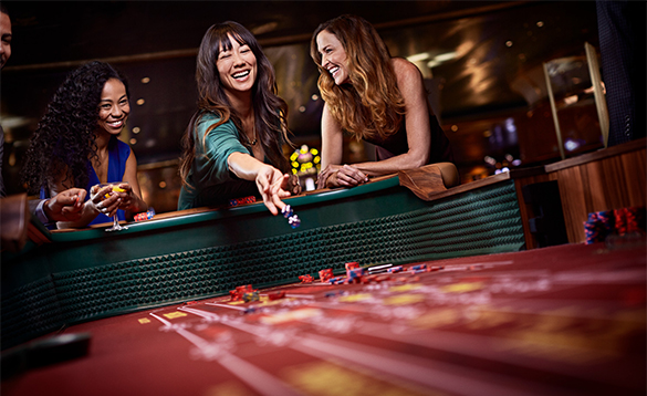 Passengers having fun in the casino on board a Princess Cruises ship/