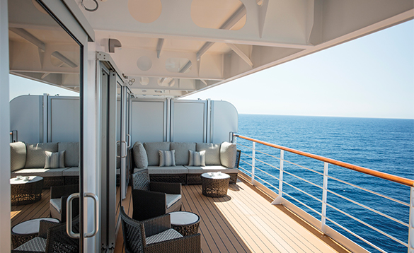 Suite balcony on the Regent Seven Seas cruise ship Explorer/