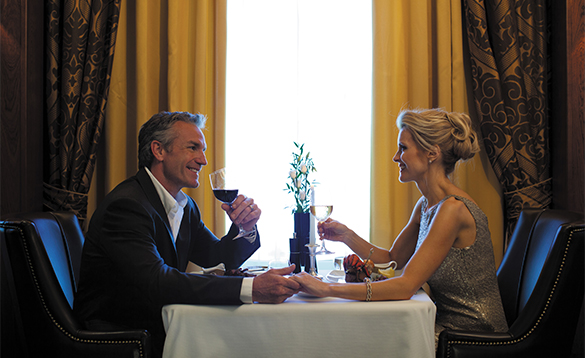 Couple dining in the restaurant aboard the Regent Seven Seas cruise ship Mariner/
