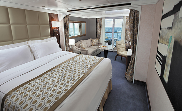 Deluxe veranda suite cabin on a Regent Seven Seas cruise ship/