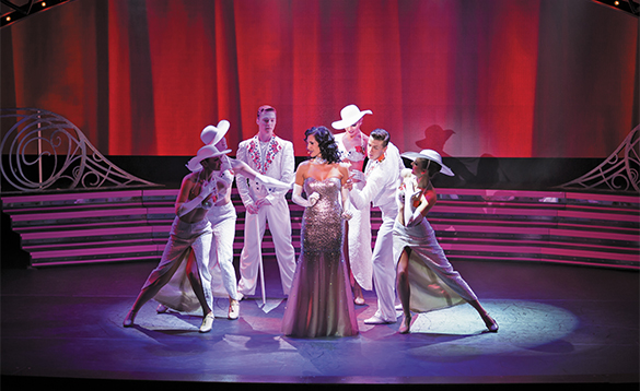 Singers and dancers on stage in the Theatre Show on Regent Seven Seas cruise ship Voyager/
