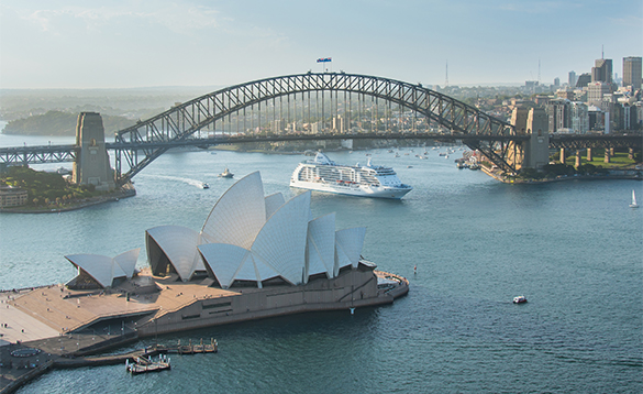 Regent Seven Seas, cruise ship Voyager sailing into Sydney Harbour/