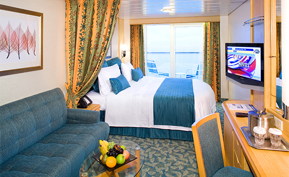 Cabin with balcony on board a Royal Caribbean cruise ship/