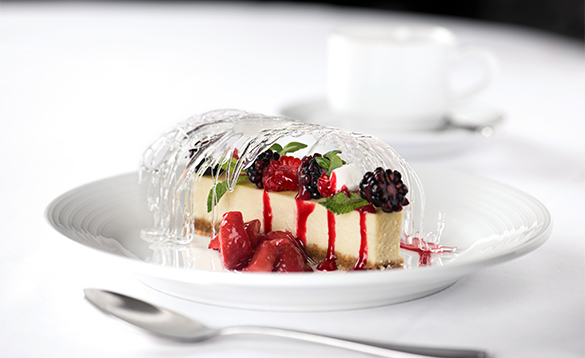 Cheescake with berries served on the Royal Caribbean cruise ships/