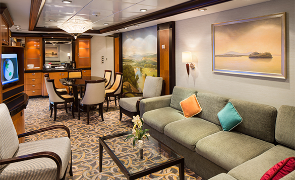 Living area in a family suite cabin aboard a Royal Cribbean cruise ship/