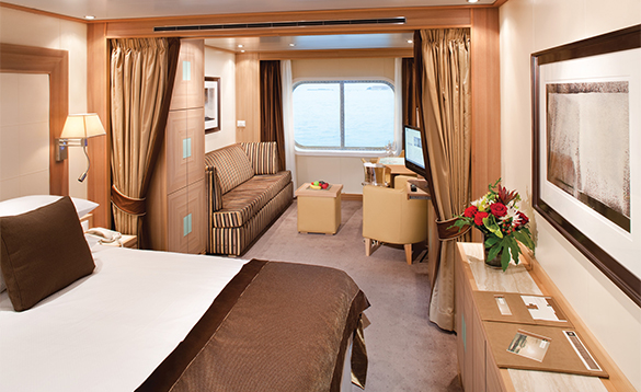 Suite cabin aboard a Seabourn cruise ship/