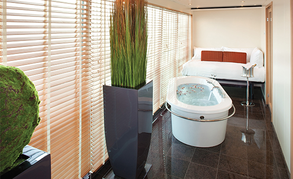 The Wintergarden Solarium onboard a Seabourn cruise ship/