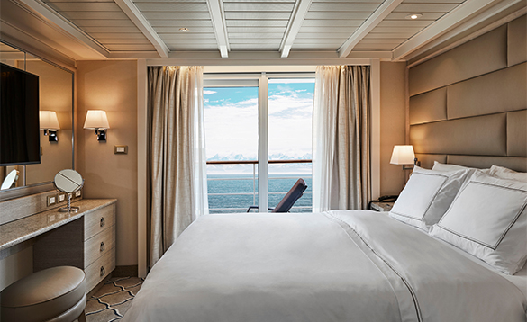 Suite cabin onboard the Silver Cloud cruise ship/