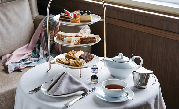 Table set for afternoon tea in the Silver Explorer Panorama Lounge/