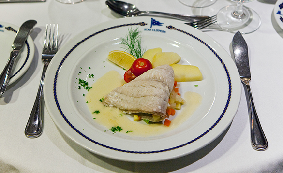 Fish dish served on the Star Clippers ships/