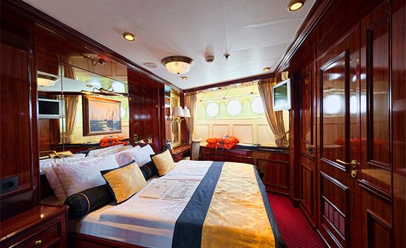 Cabin with double bed on a Star Clippers ship/