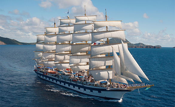 Star Clippers ship in full sail at sea/