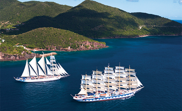 Two Star Clippers ships in full sail /