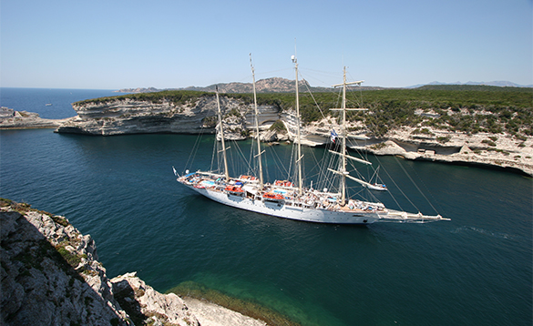 Star Clippers ship cruising around Corsica/