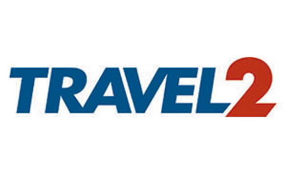 Travel2 logo; the word travel is in bold, blue capital letters and the 2 is in a red, bold font./