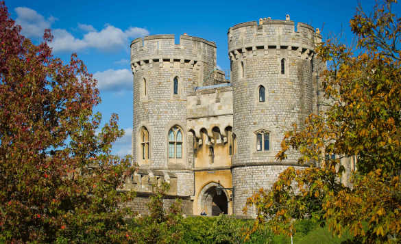 View of the two round stone towers of Windsor Castle/